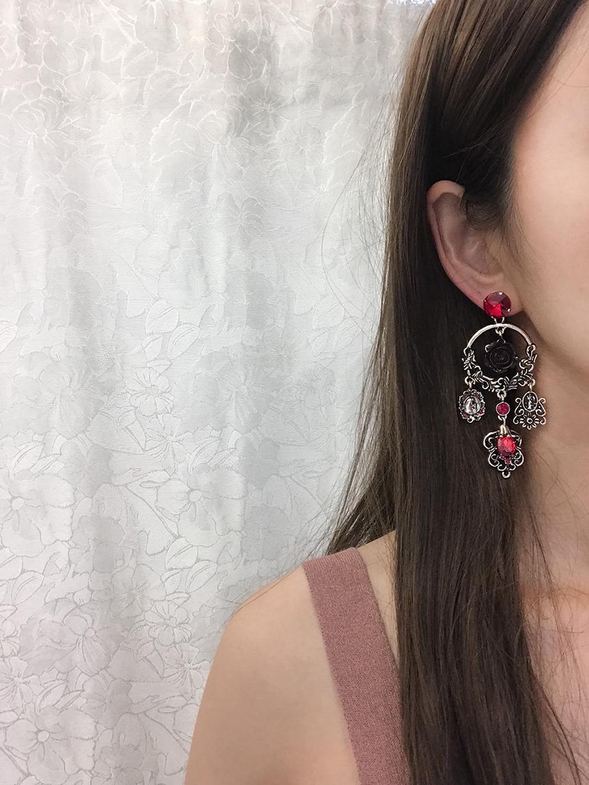 프린세스 레드 드롭 귀걸이 - 라라리빠, 16,900원, 실버, 드롭귀걸이