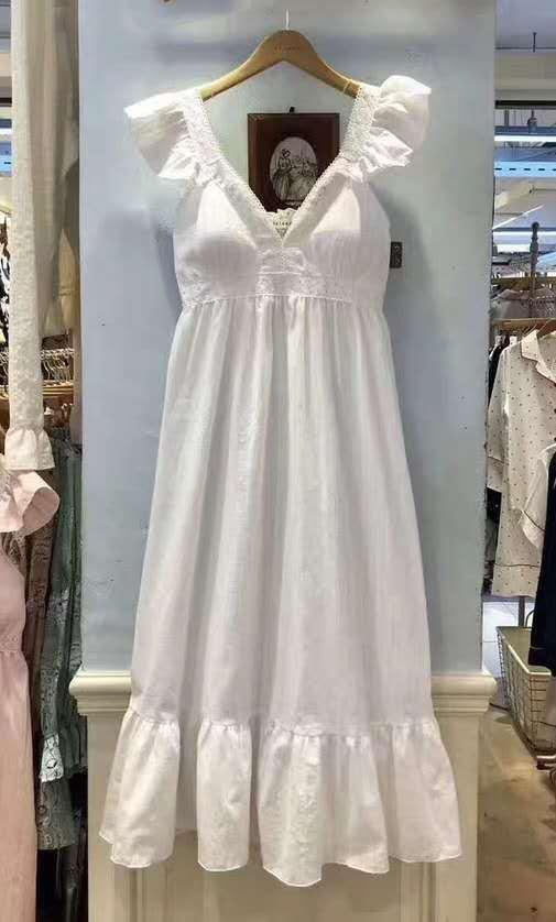 천사날개 원피스형 잠옷 순면 홈웨어 레이스 파자마 여신 - 라라리빠, 45,500원, 잠옷, 원피스잠옷
