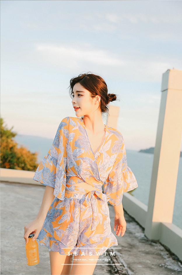 나뭇잎 비키니 커버업 상의 바지 여자세트 - 라라리빠, 41,900원, 수영복/래쉬가드, 수영복